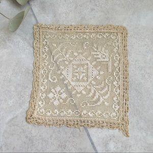 LP Antique Hand Crocheted Linen Silk Handkerchief